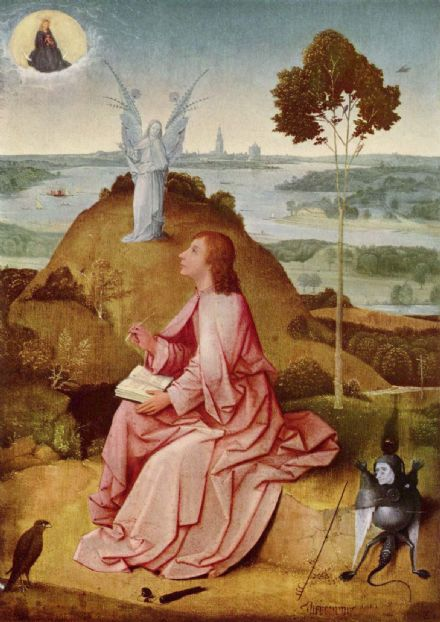 Bosch, Hieronymus: Saint John the Evangelist on Patmos. Religious Fine Art Print/Poster. Sizes: A4/A3/A2/A1 (001444)